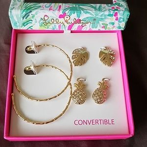 New in box Lilly Pulitzer charm hoop gift set